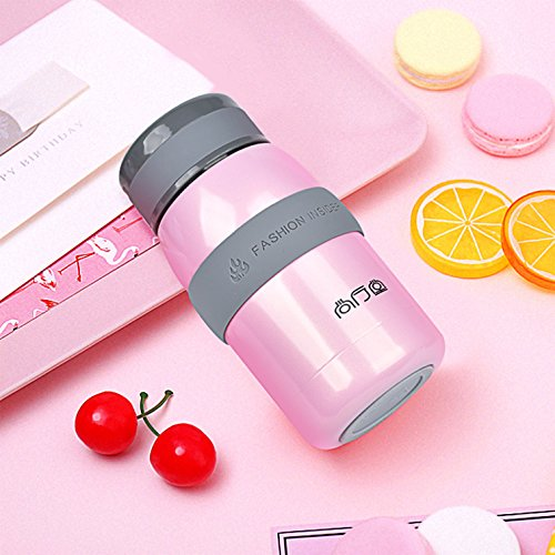 TENTA Kitchen Leak proof Vacuum Insulated Stainless Steel Water Bottle Tiny Potable Travel Coffee Mug Insulated Tumbler Cup With Silicone Sleeve For Children,Pink,220ML - 18/8(304) Stainless Steel