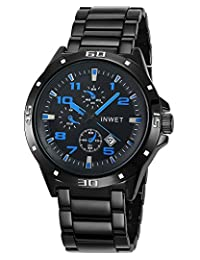 INWET Casual Men's Quartz Watch with Date Calendar,Blue Hands and Indexes,Plated Black Band