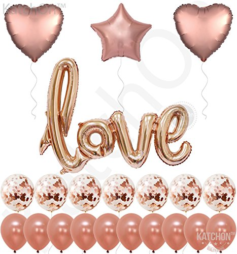 (Real Rose Gold Love Balloons Confetti Kit - Rose Gold Confetti Balloons - Rose Gold Foil Heart Balloons - Rose Gold Party Decorations - Wedding, Bridal Shower Decorations, Love Ballon Kit - Pack of 21)
