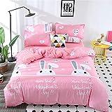 DOTBUY Bedding Sets, 3pcs Elegant Lightweight Microfiber Duvet Cover Set Fiber Soft Zipper Pillowcase Protects and Covers your Comforter Duvet Insert (Single -135x200cm, Pink rabbit)