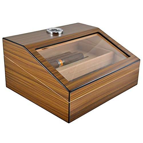 La Madera Cigars Glass and Wooden Cigar Humidor High Quality Luxury Cigar Box Holds 50 Cigars with Nice Looking Luxury Cigar Cutter Lightweight Durable and Portable Desktop Humidor Nice Packaging by La Madera Cubana