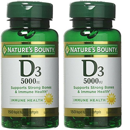 Nature's Bounty Vitamin D3 5000 IU 150 Softgels Pack of 2