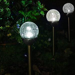 SOLAscape SET OF 6 Crackle Glass Globe Color-Changing & White LED, Bronze Solar Path Lights