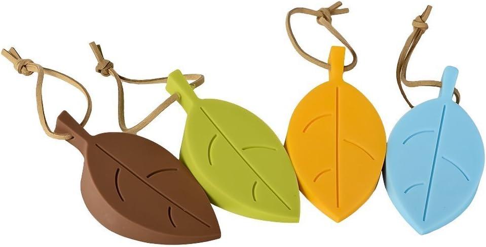 Xrten 4 Pcs Topes de Puertas Decorativos de Silicona, Diseño de Hojas para Protector de Dedos de cuña