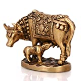 """Exotic India Cow with Calf Brass Statue, 5.2"""" x 2.3"""" x 4"""""""