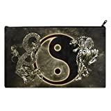 Chinese Dragon Tiger Tai Bagua Yin Yang Black And White School Pencil Case pencil Bag Zipper Clutch Organizer Purse Bag /Cosmetic Organizer Bag /Toiletry Bag/(Twin sides) 9.0''(L) x 5.5''(W)