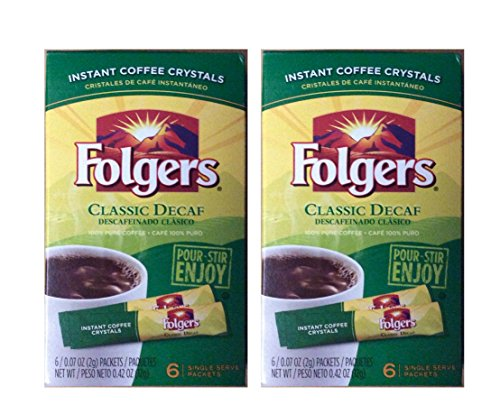 Folgers Instant Decaf Coffee Crystals - Single Serving Packets - 6/box - 2 Box Pack