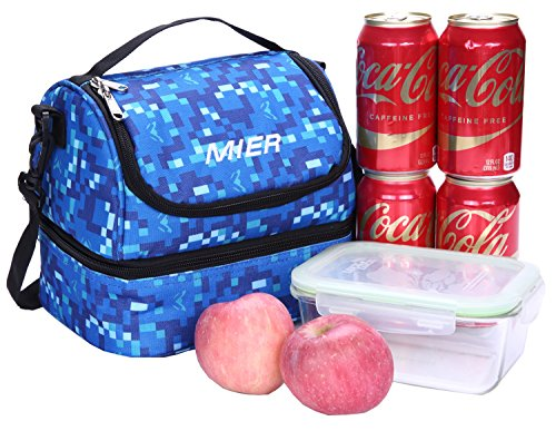 MIER Double Decker Insulated Lunch Box Soft Cooler Bag Thermal Lunch Tote with Shoulder Strap (Blue) by MIER (Image #6)