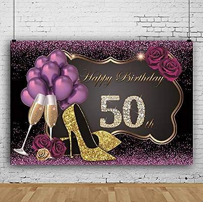 Cassisy 2,2x1,5m Vinilo Fondo de Fotografia Mujer 50º Tema del Feliz cumpleaños Lentejuelas moradas Tacones Altos Globo Telón de Fondo Photo Booth ...