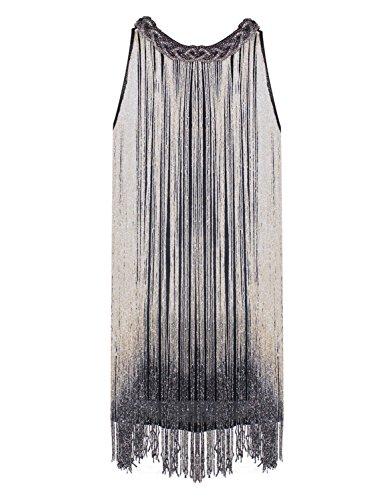 Mujer Gatsby 1920s Beige Flecos De Prettyguide Flapper Vestidos Larga Coctel pZv1vRcqB
