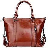 Women Designer Handbags,Vegan Leather Tote bag by YAAMUU,Large Work Shoulder Bags with Crossbody Strap[L0007/brown]