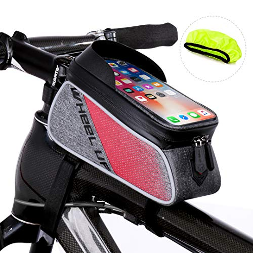 Frame Road - Waterfly Bike Frame Bag Waterproof Bike Front Tube Handlebar Bag Bicycle Bag with Touch Screen Phone Case for iPhone X/8/7 plus/7/6s/6 plus/5s
