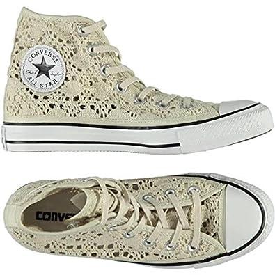 CONVERSE - Chaussures Converse All Star Salut Crochet beige haut avec  549311C tissu brodé - 549311C 3f272358cb81