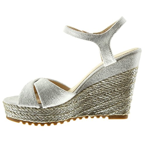 Angkorly - Scarpe da Moda sandali Espadrillas zeppe donna corda Tacco zeppa piattaforma 11.5 CM - Bianco