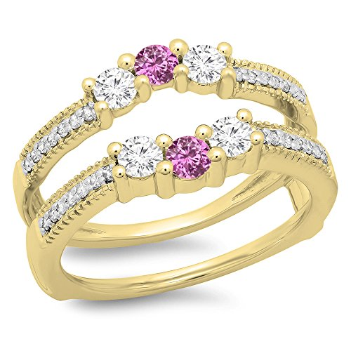 DazzlingRock Collection 14K Yellow Gold Pink Sapphire & White Diamond Wedding Band 3 Stone Enhancer Guard Double Ring (Size 7.5) 14k Yellow Gold Pink Sapphire