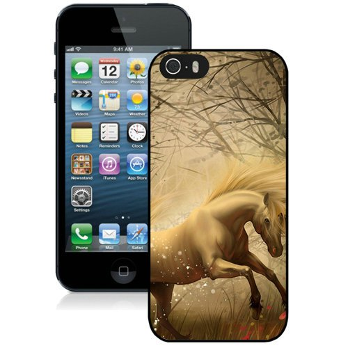Coque,Fashion Coque iphone 5S Fantasy blanc Unicorn Noir Screen Cover Case Cover Fashion and Hot Sale Design