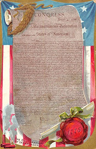 Declaration Of Independence Patriotic Greeting Tuck Antique Postcard K38128