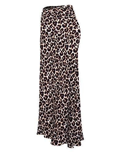 (MixMatchy Women's Basic Foldable High Waist Regular and Plus Size Maxi Skirts Animal Print3 S)