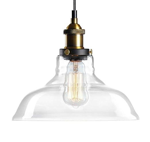Lámpara colgante de vidrio, Lantu Creative Vintage acabado en vidrio transparente bola de metal pantalla redonda Lámpara colgante Loft Lámpara de ...