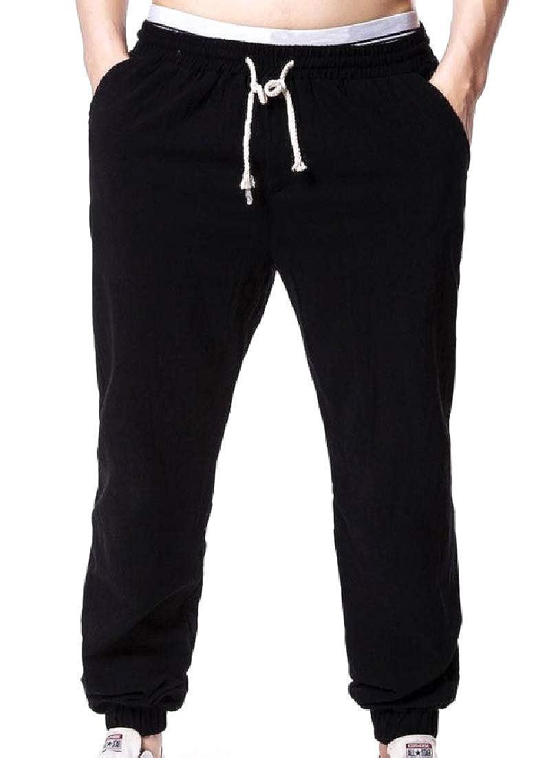 Zimaes-Men Natural Style Elastic Waist Pure Color Jogger Pants