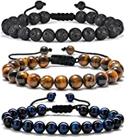 Tiger Eye Mens Bracelet Gifts - 8mm Tiger Eye Lava Rock Stone Mens Anxiety Bracelets, Stress Relief Adjustable