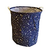 Fieans Collapsible Storage Basket with Handles Waterproof Round Laundry Hamper Stars Toys Bin for Nursery, Dorm, Home - Dark Blue