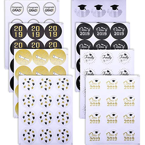 Norme 480 Pieces 2019 Graduation Stickers Graduation Favor Label Stickers Printed Graduation Caps and Diplomas for Graduation Party Decoration, 40 Sheets Totally ()
