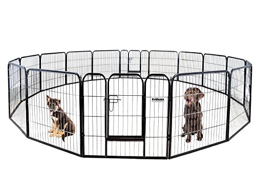 PetDanze Dog Pen Metal Fence Gate Portable Outdoor | Heavy Duty Outside Pet Large Playpen Exercise RV Play Yard | Indoor Puppy Kennel Cage Crate Enclosures | 32'' Height 16 Panel by PetDanze