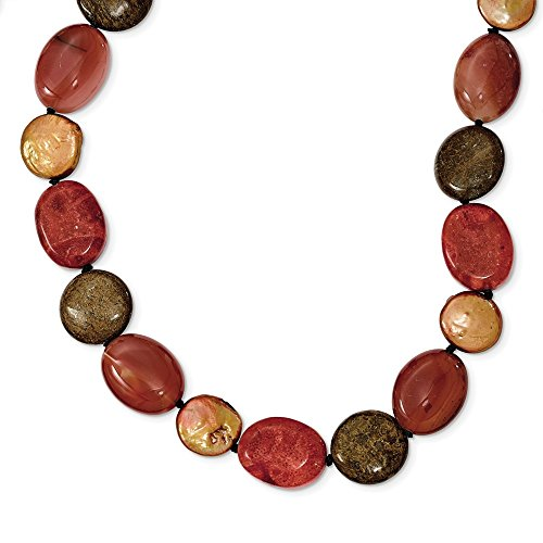 925 Sterling Silver Tiger Eyes/carnelian/reconsaint Coral/Freshwater Cultured Pearl Chain Necklace Pendant Charm Natural Stone Fine Jewelry Gifts For Women For Her ()