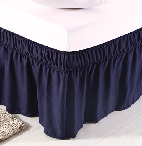Blue Twin Bedskirt (MeiLa Three Fabric Sides Wrap Around Elastic Solid Bed Skirt, Easy On/Easy Off Dust Ruffled Bed Skirts 16 Inch Tailored Drop (Navy Blue Twin/Full))