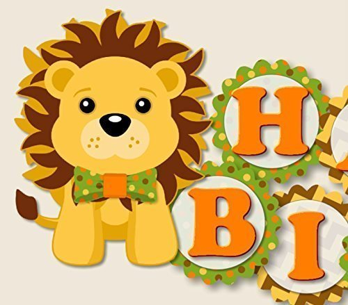 Lion Birthday Party Banner with Bow Tie - Supplies