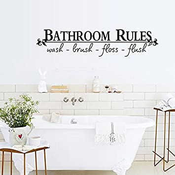 Amazon Com English Letters Bathroom Rules Wall Decal Home Sticker