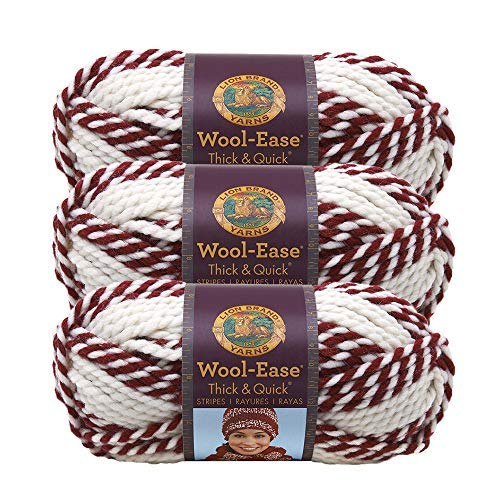 (3 Pack) Lion Brand Yarn 640-607B Wool-Ease Thick & Quick Yarn, Red Beacon