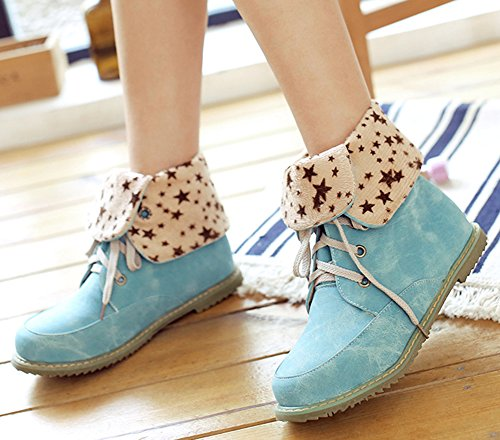 IDIFU Womens Comfy Round Toe Flat Martin Boots Combat Ankle Booties Lace Up Blue NIZtbHs7