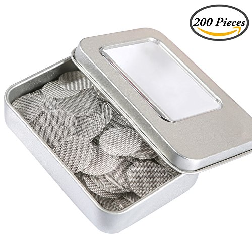 Coobey 200 Pieces Stainless Steel Screen Smoking Pipe Screens Filters 0.75 Inch with Silver Metal Boxe (Round Pipe)