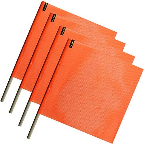 78301 Heavy-Duty Nylon Orange Ski Flag 12-Inch x 18-Inch with 24-Inch Pole
