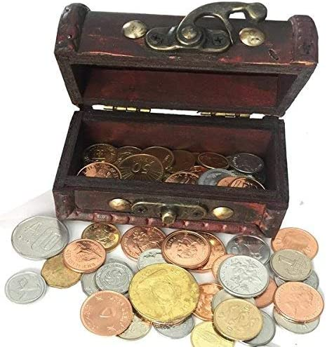 Coin Collection Wooden chest Coins for collectors 50 coins from 50 different countries