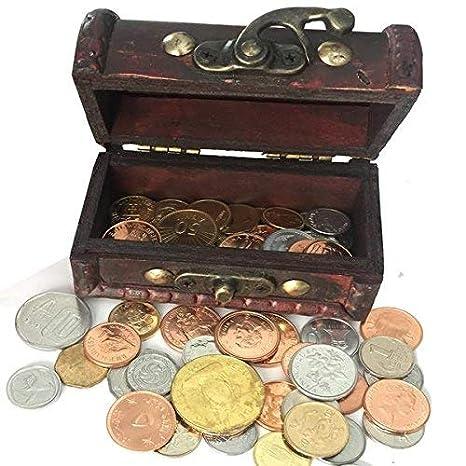 IMPACTO COLECCIONABLES Monedas de COLECCIÓN - 50 Monedas sin Circular de 50 Países + Cofre de Regalo: Amazon.es: Juguetes y juegos