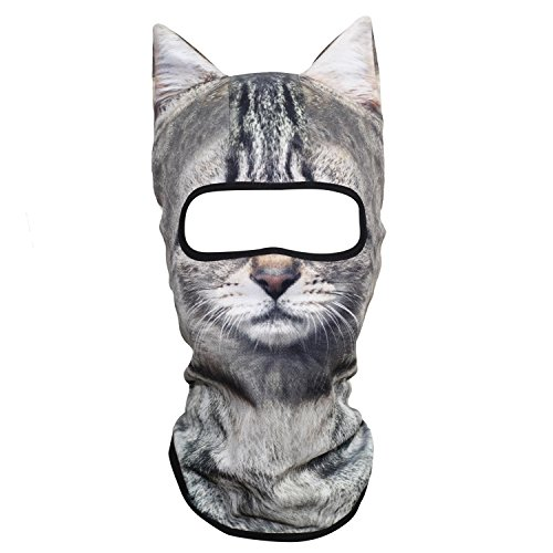 JIUSY 3D Animal Ears Balaclava Windproof Face Mask Cover Protection for Music Festivals Raves Halloween Party Riding Skiing Snowboarding Snowmobile Silver Tabby American Shorthair MEB-21 ()