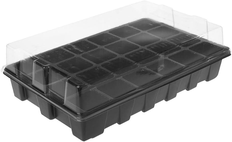 JAGETRADE 24 Greenhouse Plant Seed Tray Lid Plastic Nursery Garden Flowerpot Box Kit
