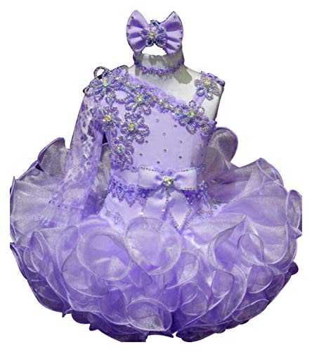 Baby Girls One Shoulder Long Sleeve Cupcake Dress Short Birthday Party Pageant Dresses with hairbow Purple Size 1T (Cupcake Long Birthday Sleeve)