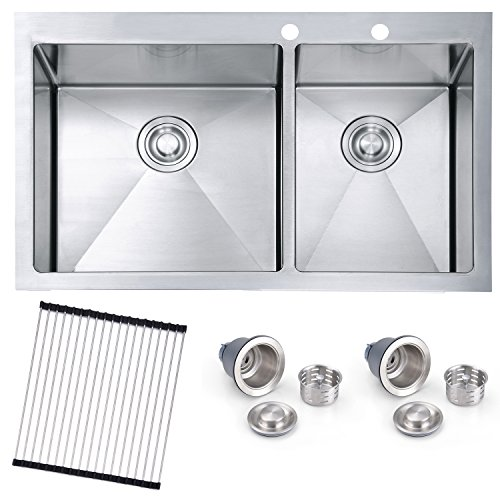 SINOGY 33'x22'x10 Inches 60/40 Stainless Steel Topmount / Drop-In Double Bowls Kitchen Sink 16 Gauge Round Corners With Two Drainers and One Roll-Up Grid, 9 Guage Extra Thick Desk,without bottom grid