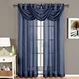 Luxury Abri Navy Grommet Crushed Curtain, 50x108 inches, by Royal Hotel