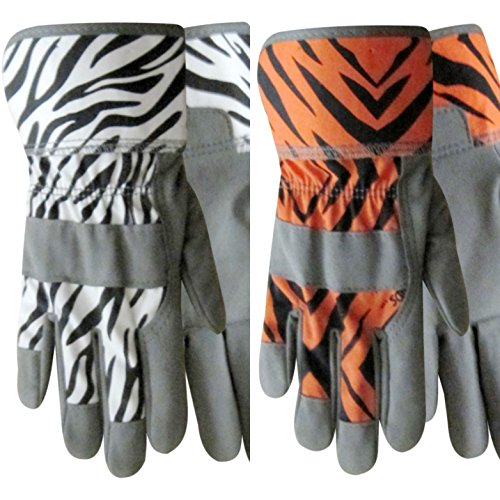 ZooHands Youth Gardening Gloves, Leather Palm, 2 Pair Pack, Tiger & Zebra Print (Small Ages - Springs Palm Premium Outlets