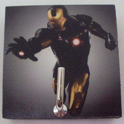 Star Yellow Cufflinks (Agility Bathroom Wall Hanger Hat Bag Key Adhesive Wood Hook Vintage Yellow Iron Man's Photo)