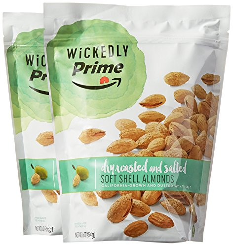 : Wickedly Prime Soft Shell Almonds, Dry Roasted & Salted, 16 Ounce (1 Pound) (Pack of 2)