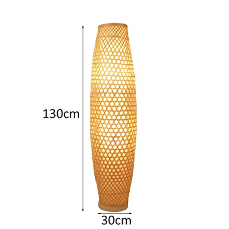 Amazon.com: Bamboo Wicker Rattan Shade Vase Floor Lamp Fixture ...