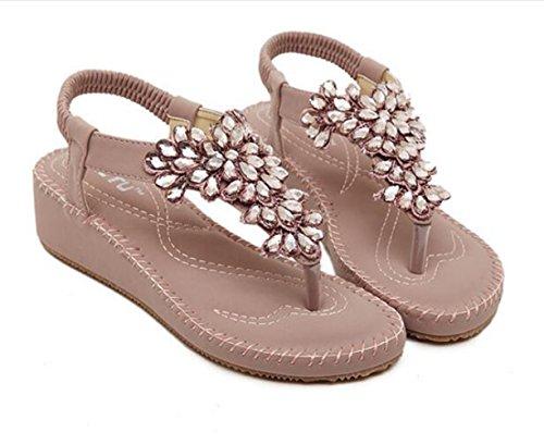 Ohmais Mädchen damen Frauen Flattie Sandalen Flache Schuhe Flops flache Sandalen Sommer mit Perlen Böhmen Lila