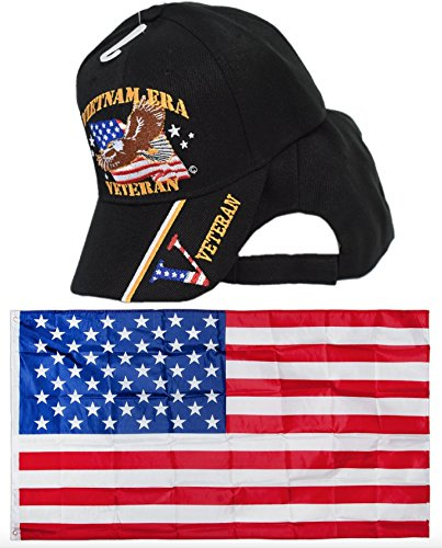 U.S Vietnam Era Veteran Eagle Embroidered Hat & USA Flag 3x5 Flags Super Polyester Nylon Flag 3'x5' House Banner Grommets Double Stitched Premium Quality Indoor Outdoor Pole Pennant