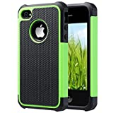 iPhone 4 Case, iPhone 4S Case, ULAK KNOX ARMOR Hybrid Dual Layer Protective Case Cover with Hard Plastic and Soft Silicone for iPhone 4S & iPhone 4 (Green/Black)